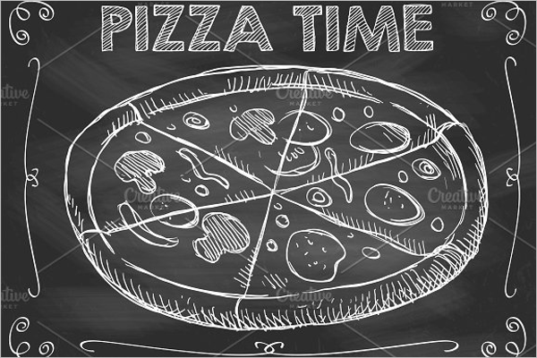 Chalkboard Pizza Time Vector Template