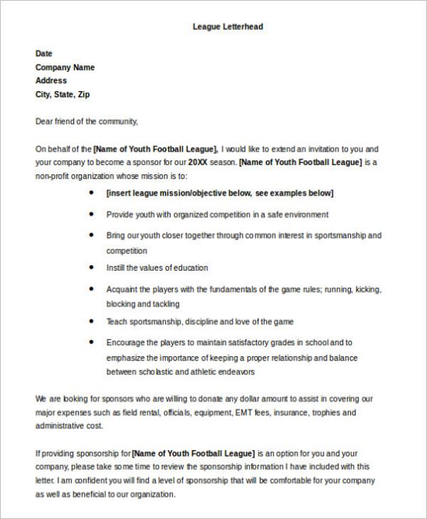 charitable donation letter template