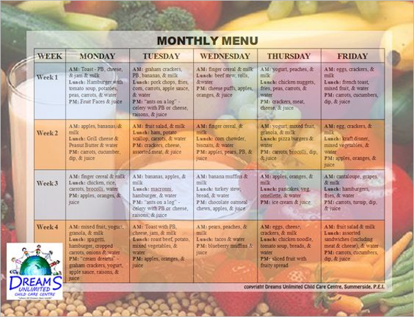 Child Care Monthly Menu Template