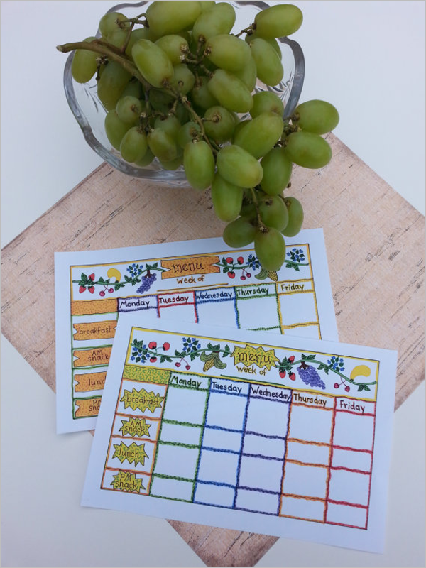 Child Care Weekly Menu Template