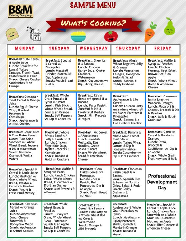 Childcare Menu Planner Template