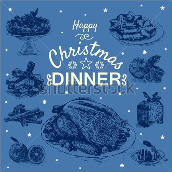 Christmas Dinner Menu Vector Template