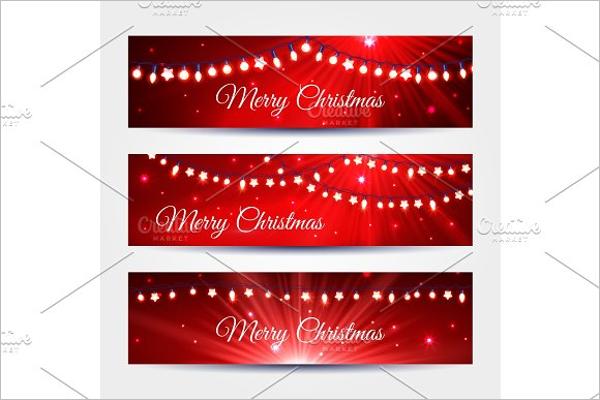 Christmas Light Garlands banners set