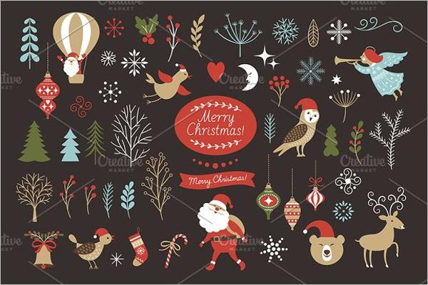 Christmas Set Icon Design