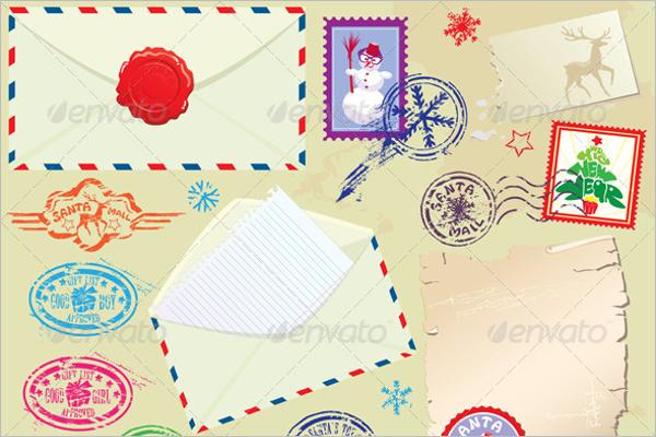 Christmas Stamps Envelop Design