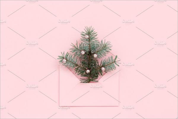 Christmas Tree In Pink Envelope