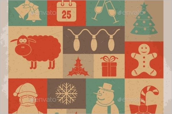 Christmas Vector Retro Icons