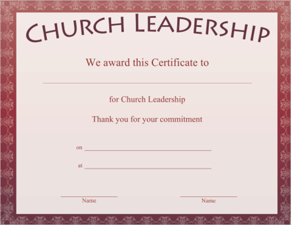 17 church certificate templates free printable sample designs church leadership certificate template yadclub Gallery
