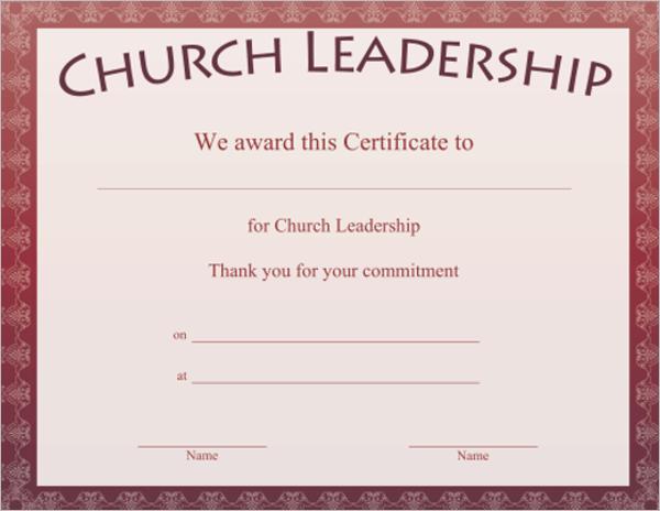 Church Leadership Certificate Template