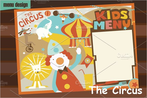 Circus Chidren Menu Design