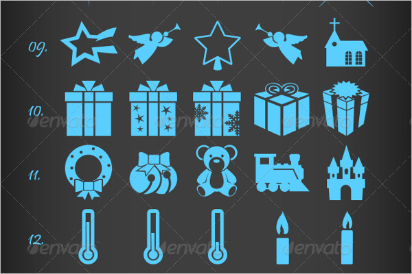 Collection Christmas Icons Vector
