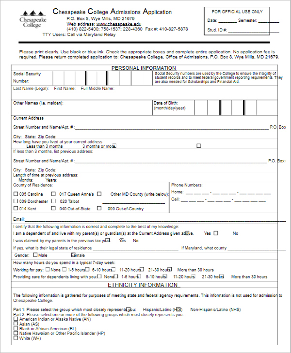 College Application Form For Free