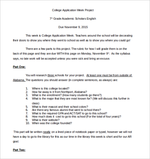 College Application Week Project Form