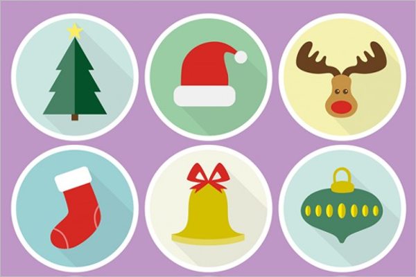 Colorful Round Christmas Icons