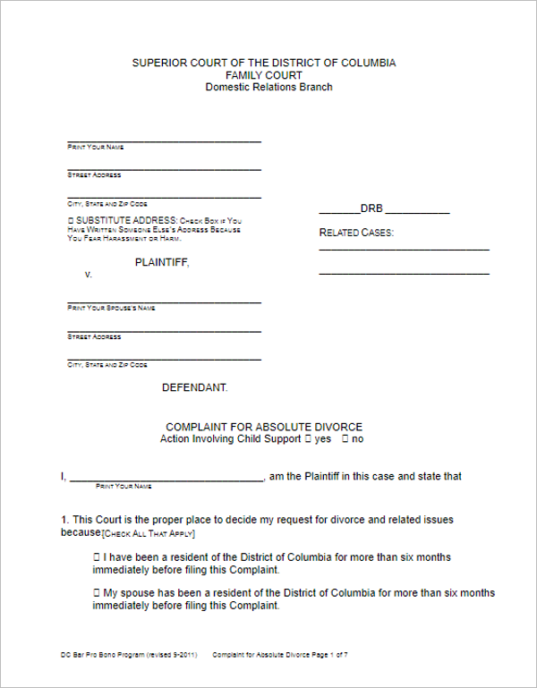Complaint For Absolute Divorce Form