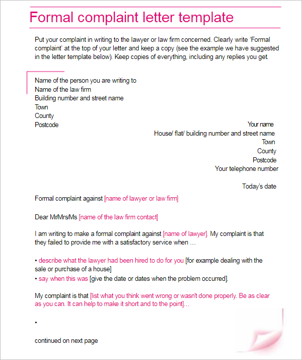 25 complaint letter templates free word samples examples complaint letter example word spiritdancerdesigns Images