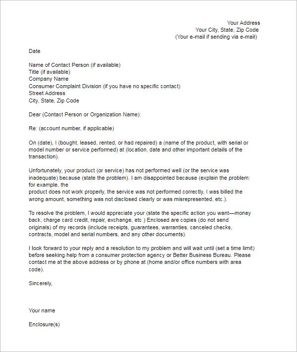 Consumer Complaint Letter Template
