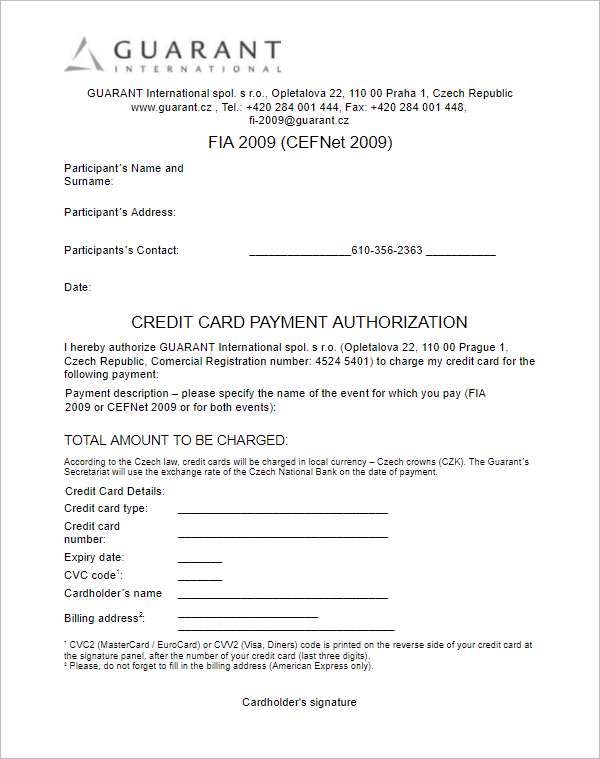 Credit Card Payment Authorization Template
