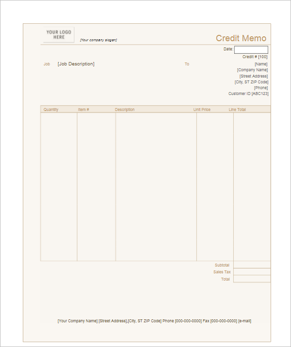 Credit Memo Template For Free