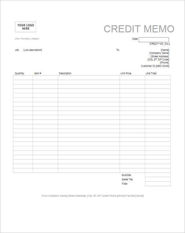 Credit Note Format Letter Template  Credit Note Letter