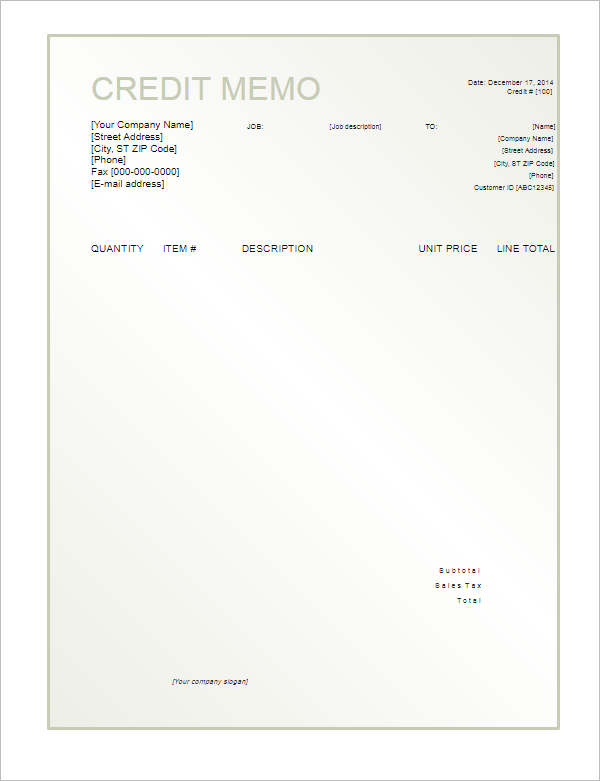 Credit Note Format Sample