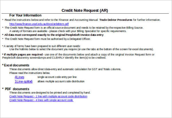 Credit Note Instructions Template  Credit Note Request Form