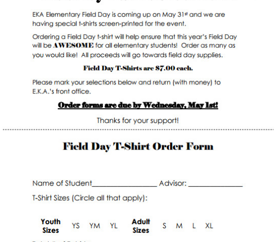 Customized T-Shirt Form Template