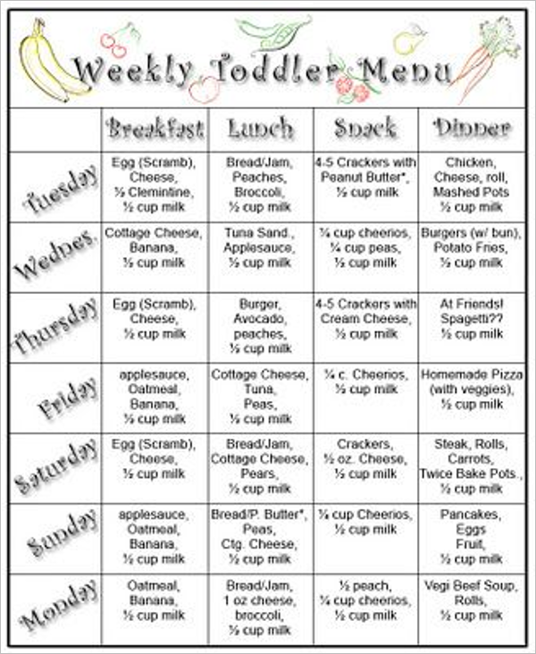 Daycare menu template weekly menu template medium size for Daycare food menu template