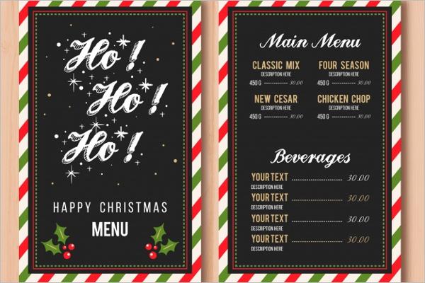 decorative christmas menu template - Christmas Menu Template