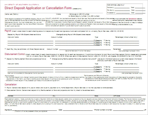Direct Deposit Application Template