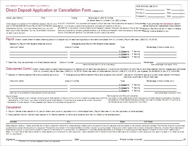 Direct Deposit Application Template