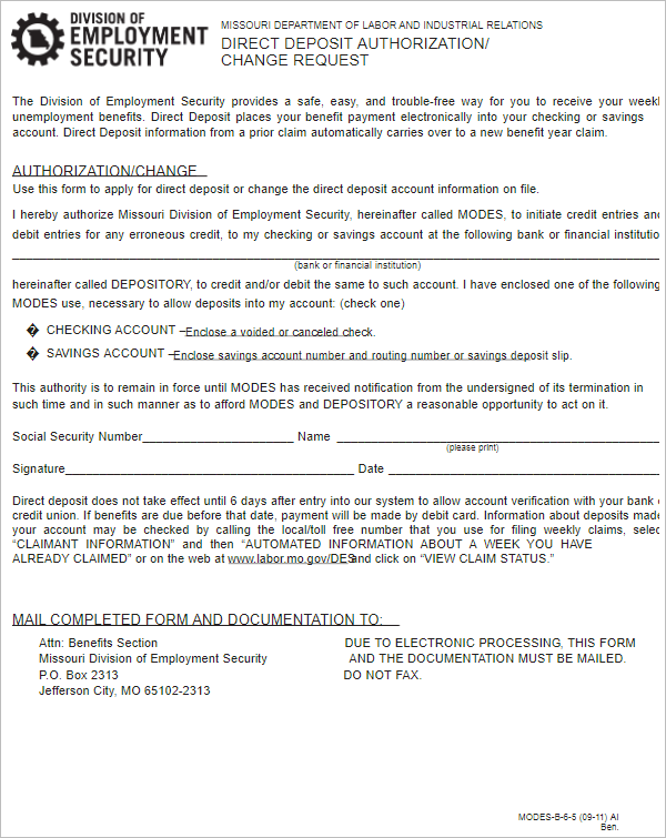Direct Deposit Authorization Form Doc