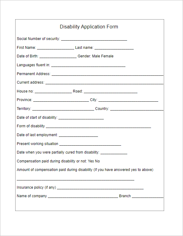 Disability Application Form Template