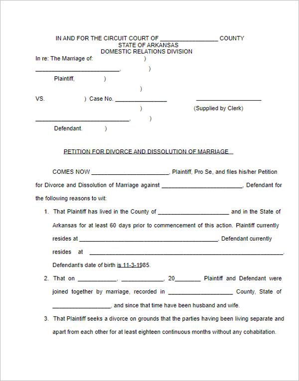 107 Free Divorce Papers Templates PDF Samples Examples – Divorce Template