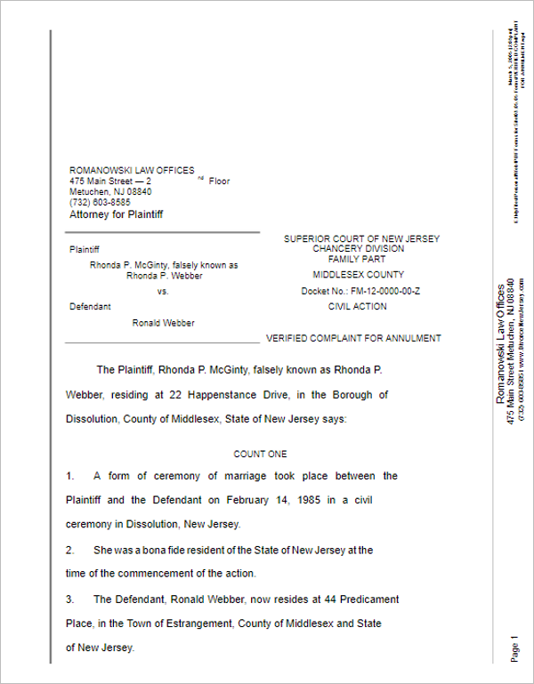 Free Divorce Papers Template  Examples Of Divorce Papers