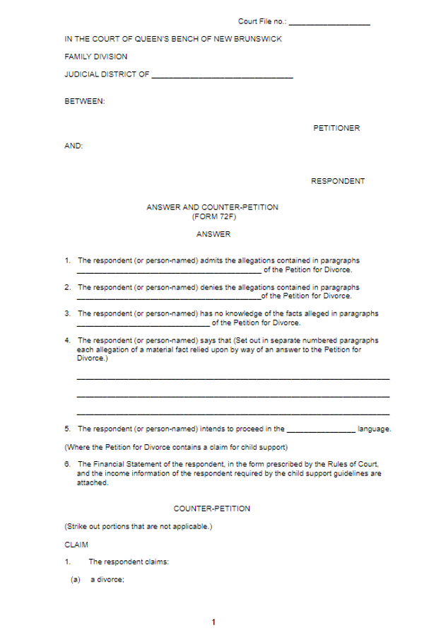 Divorce Papers Sample PDF
