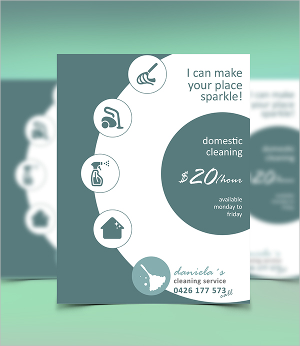 Domestic Cleaning Service Flyer Template