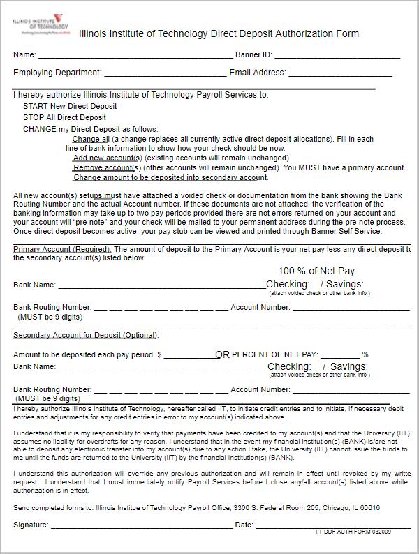Download Direct Deposit Form Template