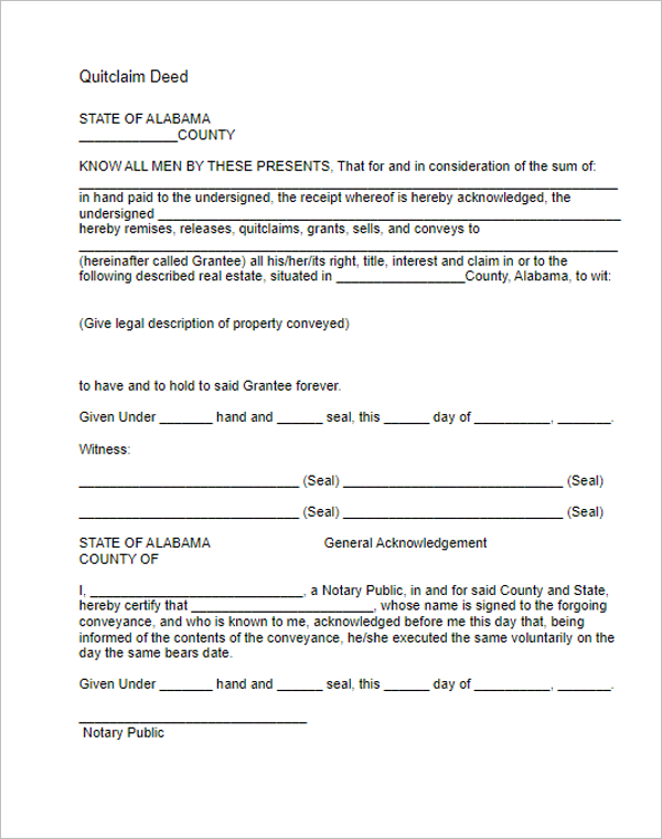 Download Quit Calm Deed Form