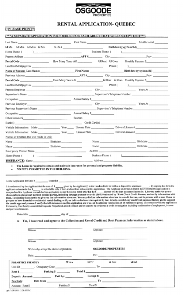 Download Rental Application Form