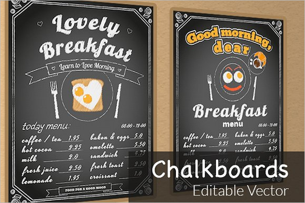 Editable Chalkboard Menu Template
