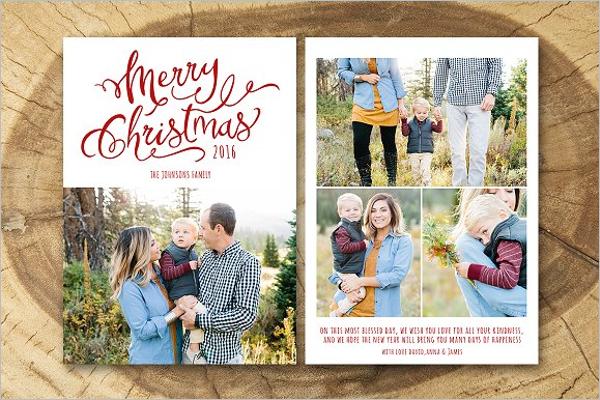 Editable Christmas Photo Card Template