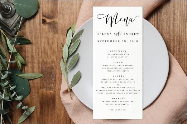 Editable Wedding Menu Design