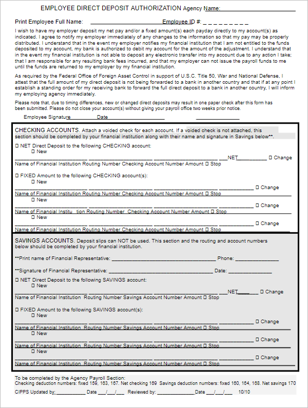 Employee Direct Deposit Authorization Form