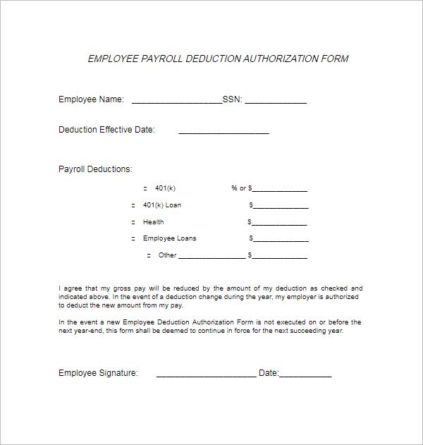 Employee Payroll Deduction Form