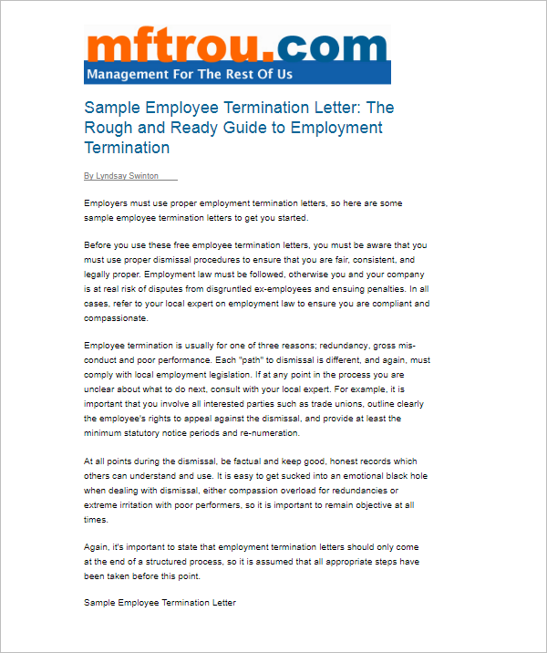 Employee Termination Letter PDF