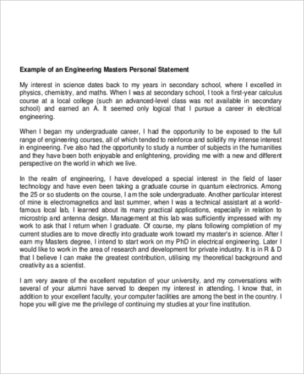 Engineering Graduate Personal Statement Example