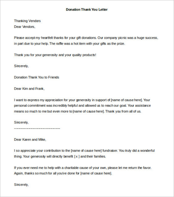 Example for Donation Letter Template
