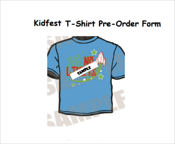 Example For T Shirt Form Template