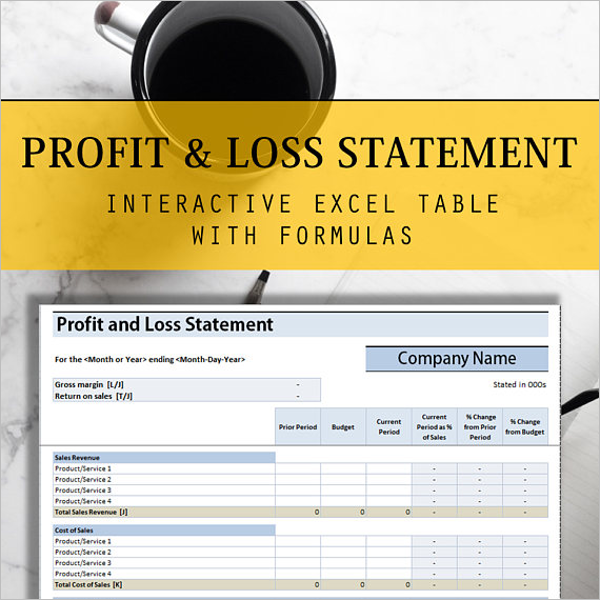 Excel Profit & Loss Statement